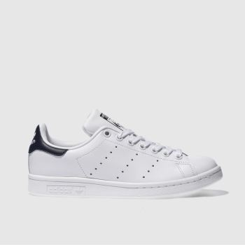 adidas White & Navy Stan Smith Womens Trainers