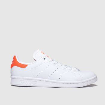Adidas White & Orange Stan Smith Womens Trainers