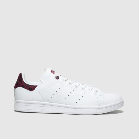Womens White \u0026 Burgundy adidas Stan