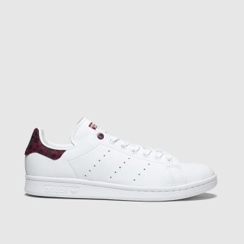Adidas White & Burgundy Stan Smith Womens Trainers#