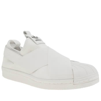womens adidas white superstar slip on trainers