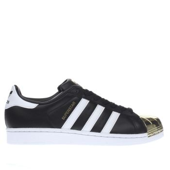ADIDAS BLACK & GOLD SUPERSTAR 80S METAL TOE TRAINERS
