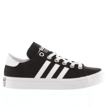 ADIDAS BLACK & WHITE COURT VANTAGE TRAINERS
