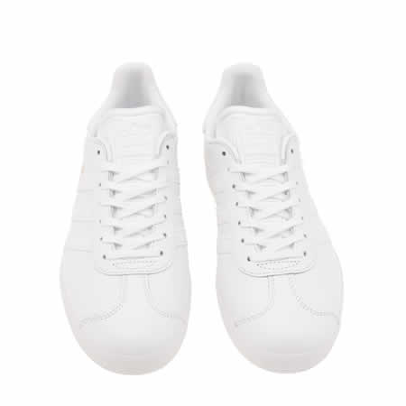 white leather gazelles