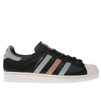 ADIDAS BLACK AND BLUE SUPERSTAR TRAINERS