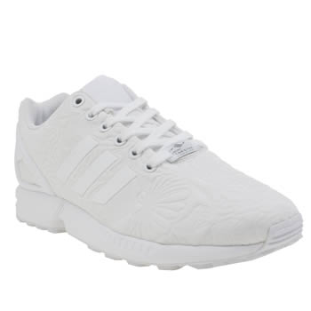 6bd09922 womens white adidas zx flux embossed floral trainers | schuh