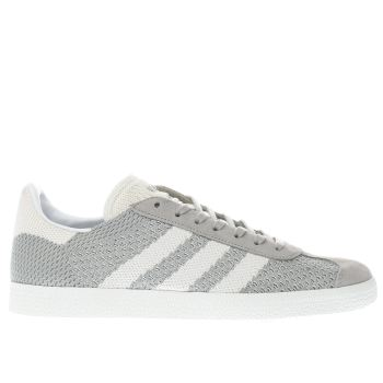 ADIDAS LIGHT GREY GAZELLE PRIME KNIT TRAINERS