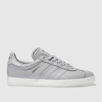 ADIDAS LIGHT GREY GAZELLE LEATHER TRAINERS