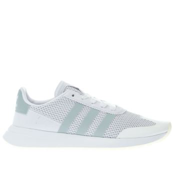 ADIDAS WHITE & GREEN FLB TRAINERS