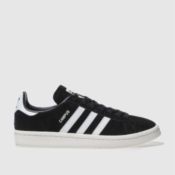 adidas black & white campus trainers