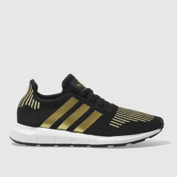 ADIDAS BLACK & GOLD SWIFT RUN TRAINERS