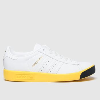 adidas White & Yellow Forest Hills Womens Trainers#