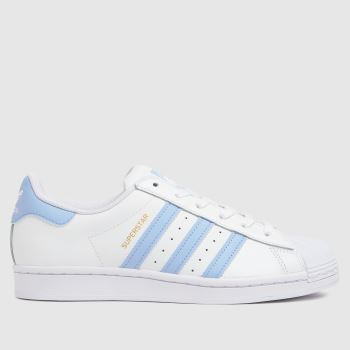 adidas White & Pl Blue Superstar Womens Trainers