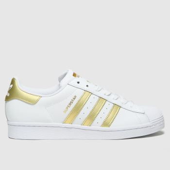 adidas White & Gold Superstar Womens Trainers#