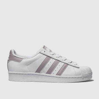 the latest b81d1 16a92 Adidas White   Pink Superstar Womens Trainers
