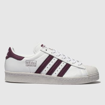 5ba1cc8b3 Adidas White   Burgundy Superstar Womens Trainers