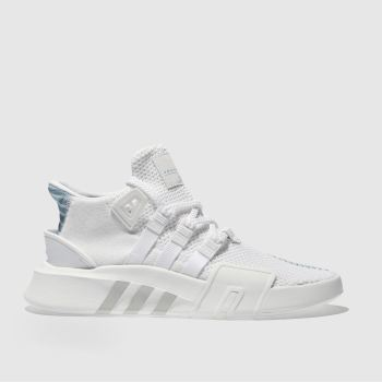 save off 54322 1c895 ADIDAS WHITE  PL BLUE EQT BASK ADV TRAINERS