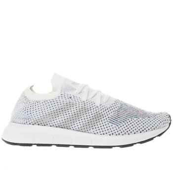 ADIDAS WHITE & PINK SWIFT RUN PRIMEKNIT TRAINERS