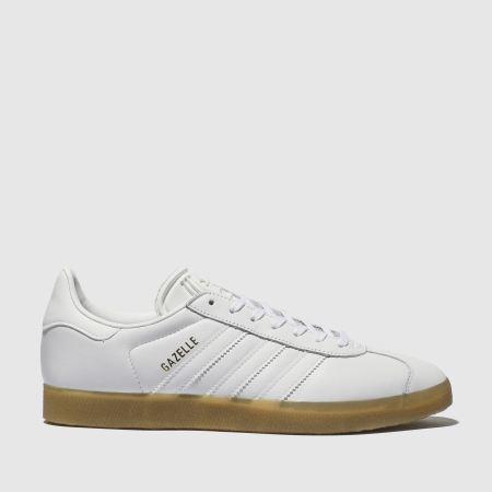 Womens White adidas Gazelle Leather Gum