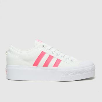 adidas white & pink nizza platform trainers