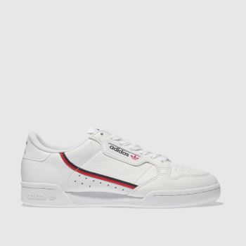 ADIDAS WHITE & RED CONTINENTAL 80 TRAINERS