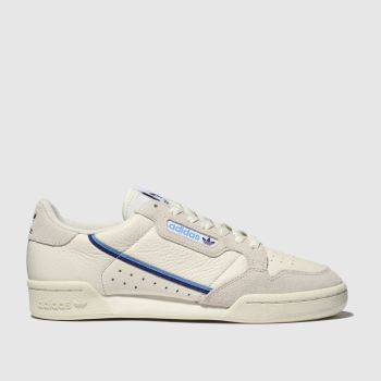 adidas white & pl blue continental 80 trainers