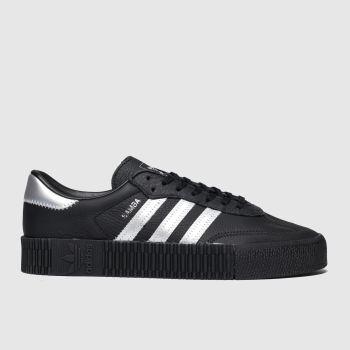 adidas black & silver sambarose trainers