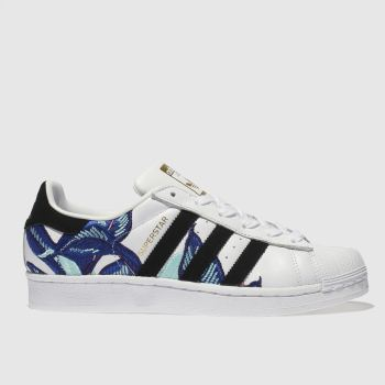 ADIDAS WHITE & BLUE SUPERSTAR FARM TRAINERS