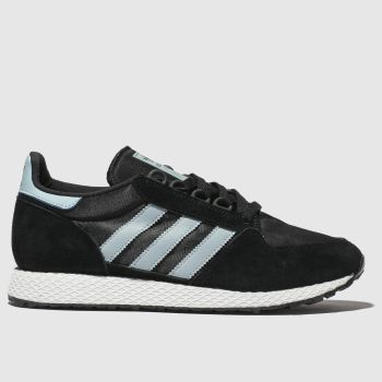 ADIDAS BLACK AND BLUE FOREST GROVE TRAINERS