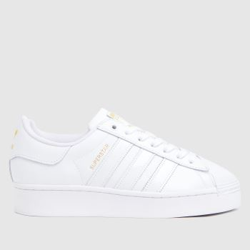 adidas White & Gold Superstar Bold Womens Trainers