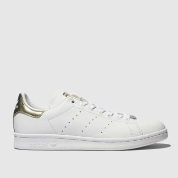 b1c4c4388616bd Adidas White   Gold Stan Smith Womens Trainers