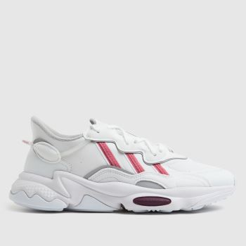 adidas White & Pink Ozweego Womens Trainers