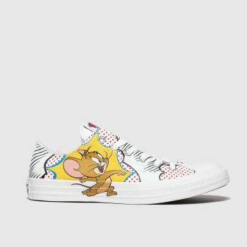 CONVERSE WHITE & RED ALL STAR OX TOM & JERRY TRAINERS