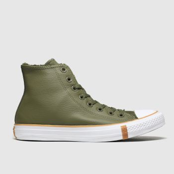 Converse Khaki All Star Faux Shearling Hi Womens Trainers