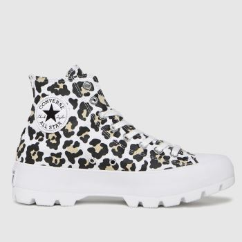 Converse Black & Brown Lugged Hi Leopard Womens Trainers