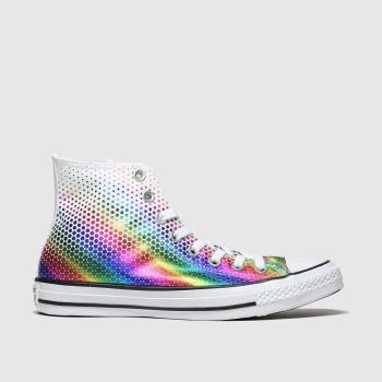 Converse White & Pink All Star Kaleidoscope Hi Womens Trainers