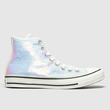 converse iridescent white all star mini sequins hi trainers