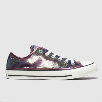 Converse Pink All Star Mini Sequins Ox Trainers