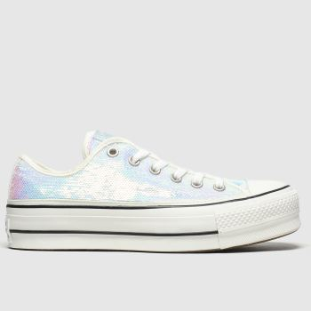 Converse Iridescent White All Star Lift Mini Sequins Womens Trainers