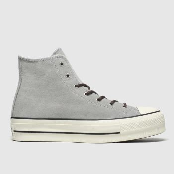 Converse Light Grey All Star Lift Sherpa Hi Womens Trainers