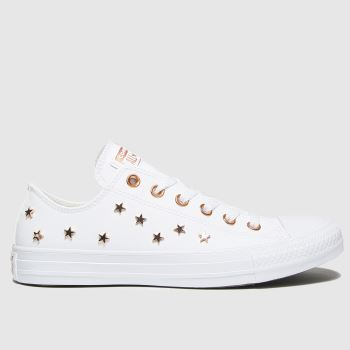 Converse White & Gold Star Stud Ox Womens Trainers