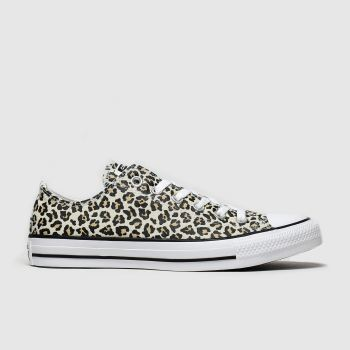 Converse Black & Brown All Star Leopard Print Ox Trainers