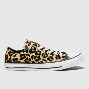 Converse Brown & Black Flocked Leopard Ox Womens Trainers