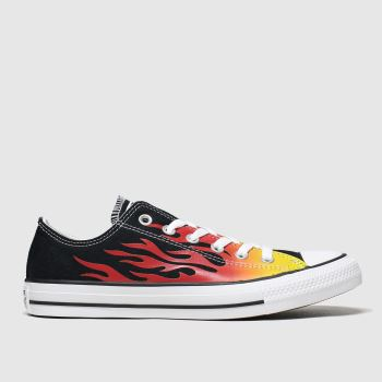 Converse Black & Orange Ox Flames c2namevalue::Womens Trainers