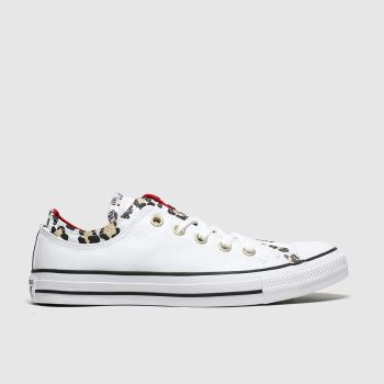 Converse White & Black Double Upper Leopard Womens Trainers