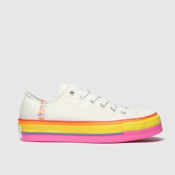 Converse Beige-Orange All Star Lift Rainbow Ox Damen Sneaker