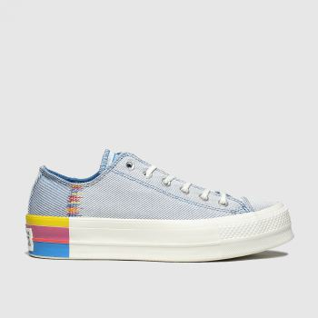 Converse White & Blue All Star Lift Rainbow Ox Womens Trainers