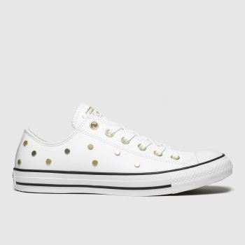 Converse White & Gold All Star Stud Ox Womens Trainers