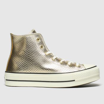 Converse Gold Metallic Snake Lift Hi Womens Trainers