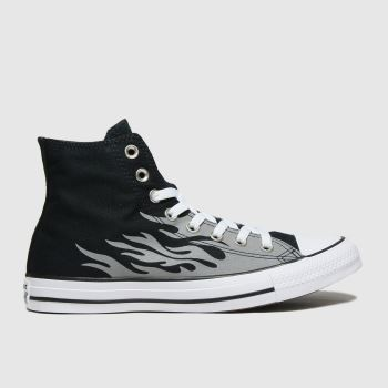 Converse Black & Grey Reflective Flame Hi Womens Trainers